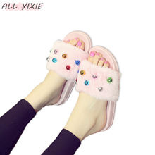 ALL YIXIE 2019 Summer New Fashion Plush Sweet Small Bell Thick Bottom Women Slippers Skid Indoor Shoes Pink Platform Flip Flops