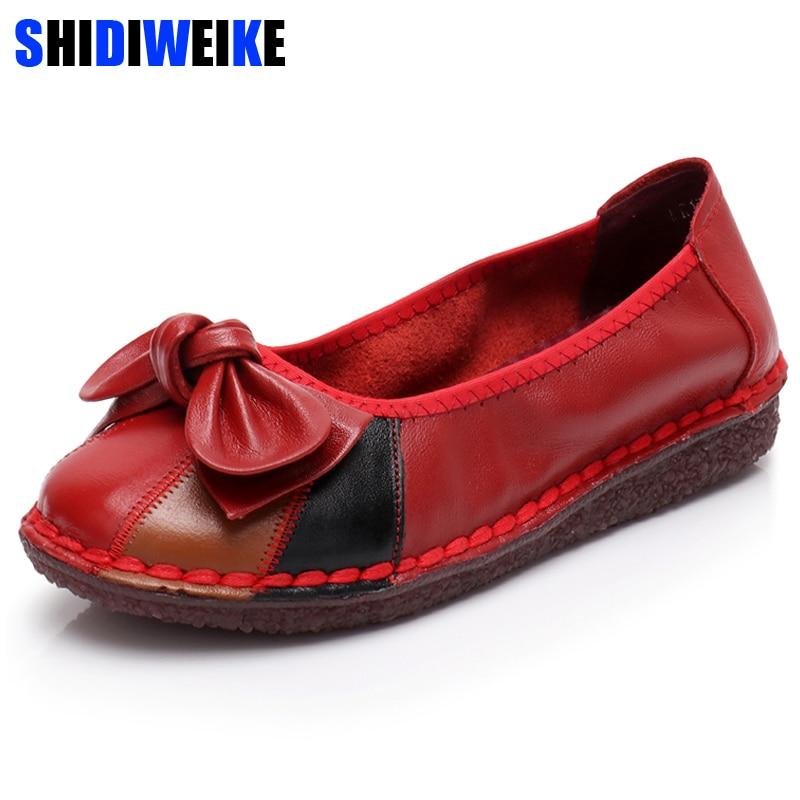 Chaussures Mocassins Main marron 2018 En Noir Plates Appartements Mode Véritable À Femmes Femme De Cuir Casual Noir rouge Sur Glissent La nWWZEr06H