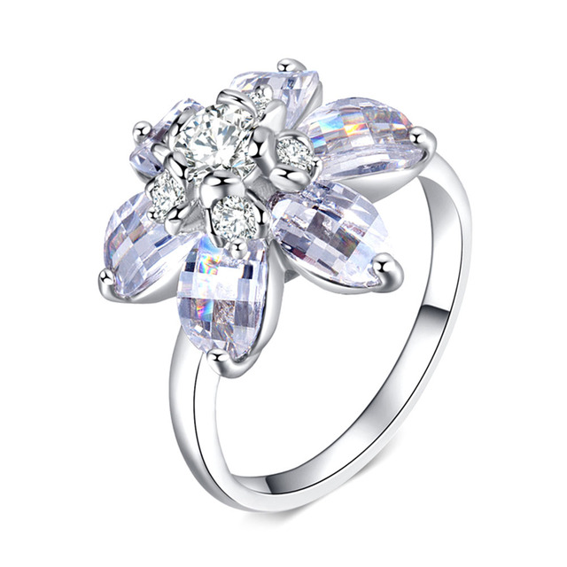 New Arrival Silver Color Clear Zircon CZ Flower Design Party Rings Female Jewelr