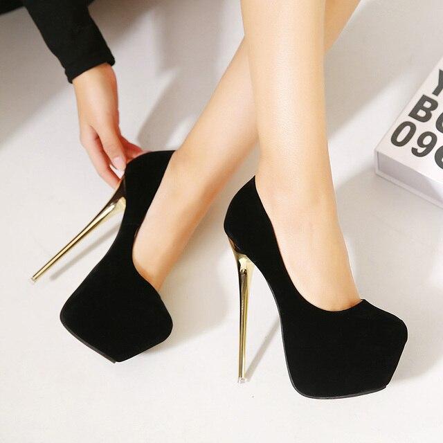 HOT  New Sexy Women Pumps 16CM  Round Toe High Heels Women Shoes Simple Fine Heels Women's Singles Shoes Size 34-40