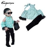 GOOPORSON Hot Sell Baby Girls' Clothes Set New Green Shirt + Black Pants Kids 2 Pcs Clothing Suit Lovely Sets Children Garment