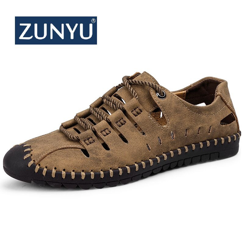 2019 New Summer Men Genuine Leather Sandals Business Casual Shoes Men Outdoor Beach Sandals Roman Men Summer Water Shoes Size 48