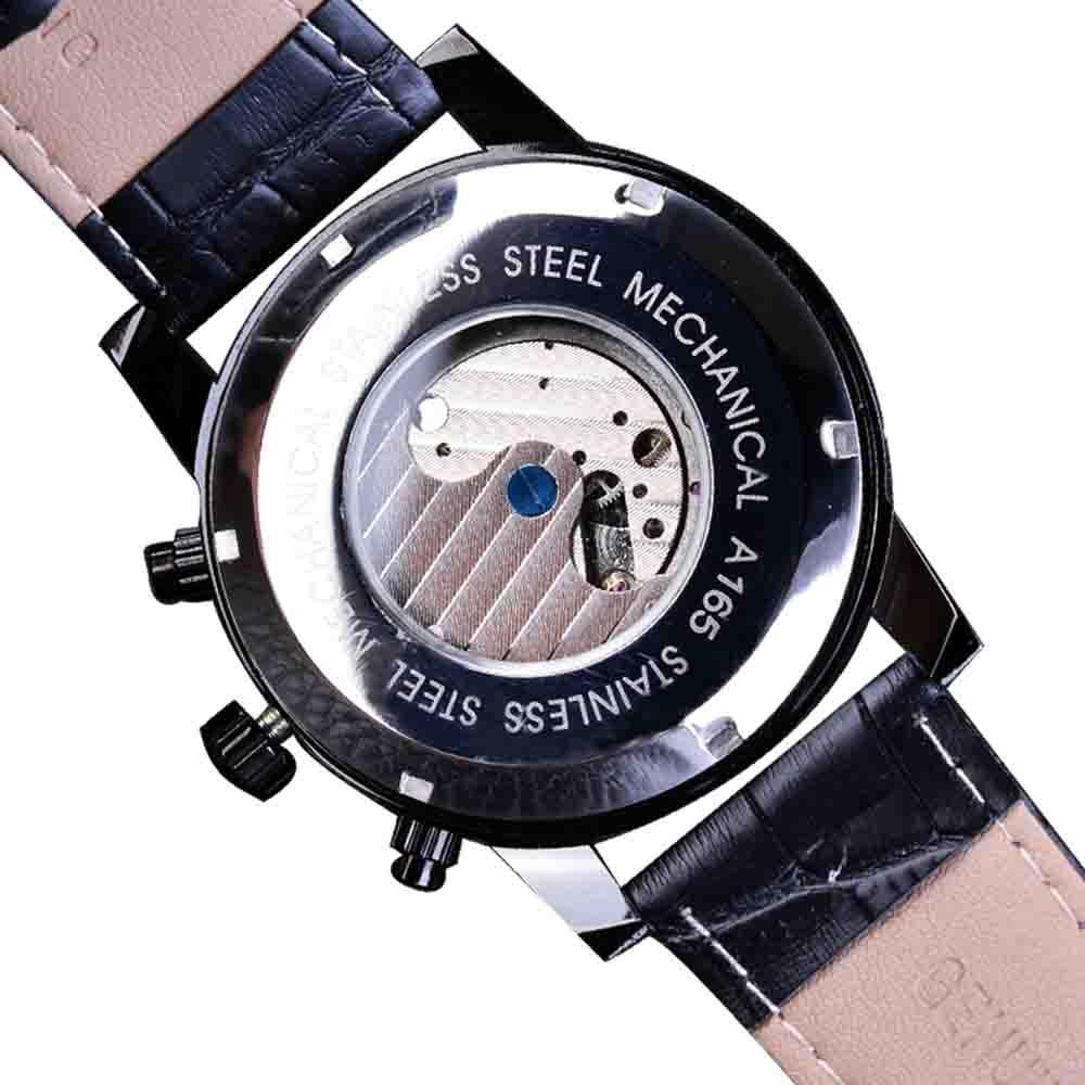 Forsining Tourbillion mode vague noir doré horloge Multi fonction affichage hommes automatique mécanique montres Top marque de luxe - 5