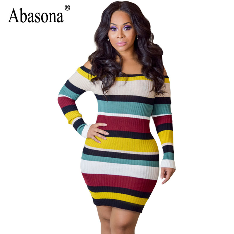 Abasona Long Sleeve Women Striped Dresses Sexy Off Shoulder Knitted Dress Autumn Winter Casual Ribbed Women Pencil Dress casual off the shoulder round neck striped women s dress