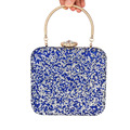 Blue large Crystal Clutch Bag handle Fashion Tote Evening Bag Luxury Sparkly Crystal Encrusted Bags Ladies Banquet Handbag 811