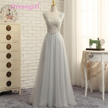 Dressgirl 2017 Cheap Bridesmaid Dresses Under 50 A-line Sweetheart Tulle Lace Silver Long Wedding Party Dresses