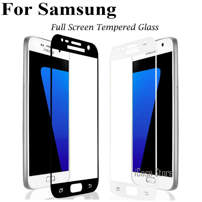 Full Cover Tempered Glass For Samsung Galaxy A3 A5 A7 <font><b>2017</b></font> J5 <font><b>J7</b></font> J3 2016 J5 Prime S6 S7 C5 C7 Screen Protector Toughened Film image