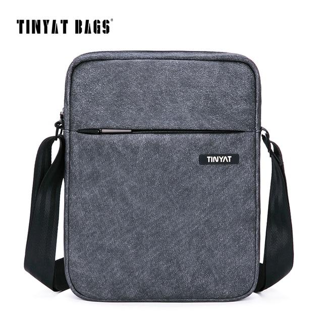 Tinyat Для мужчин с плечевым ремнем Многофункциональный Для мужчин Повседневное сумка качества мужского плеча Курьерские сумки Холст кожаная сумочка серый 511