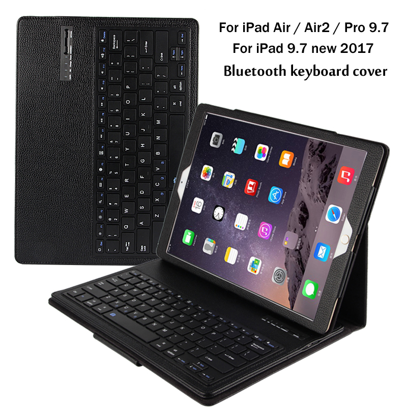 For iPad 9.7 2017 2018 / 5 / 6 / Air / Air 2 / Pro 9.7 Detachable Bluetooth Keyboard Portfolio Folio PU Leather Case Cover +Gift for ipad pro 12 9 keyboard case magnetic detachable wireless bluetooth keyboard cover folio pu leather case for ipad 12 9 cover