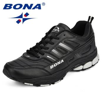 ¡Novedad de 2018! zapatillas de correr BONA para hombre, cómodas zapatillas deportivas para exteriores para hombre, zapatillas de correr para otoño con abertura de vaca, zapatillas para correr