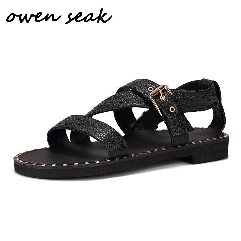 Ayakk.'ten Erkek Sandaletleri'de Owen Seak Erkekler Roma Sandalet Hakiki Deri Perçin Gladyatör Sandalet Toka Askı Terlik Slaytlar Yaz Erkek Sandalet Ayakkabı'da  Grup 1