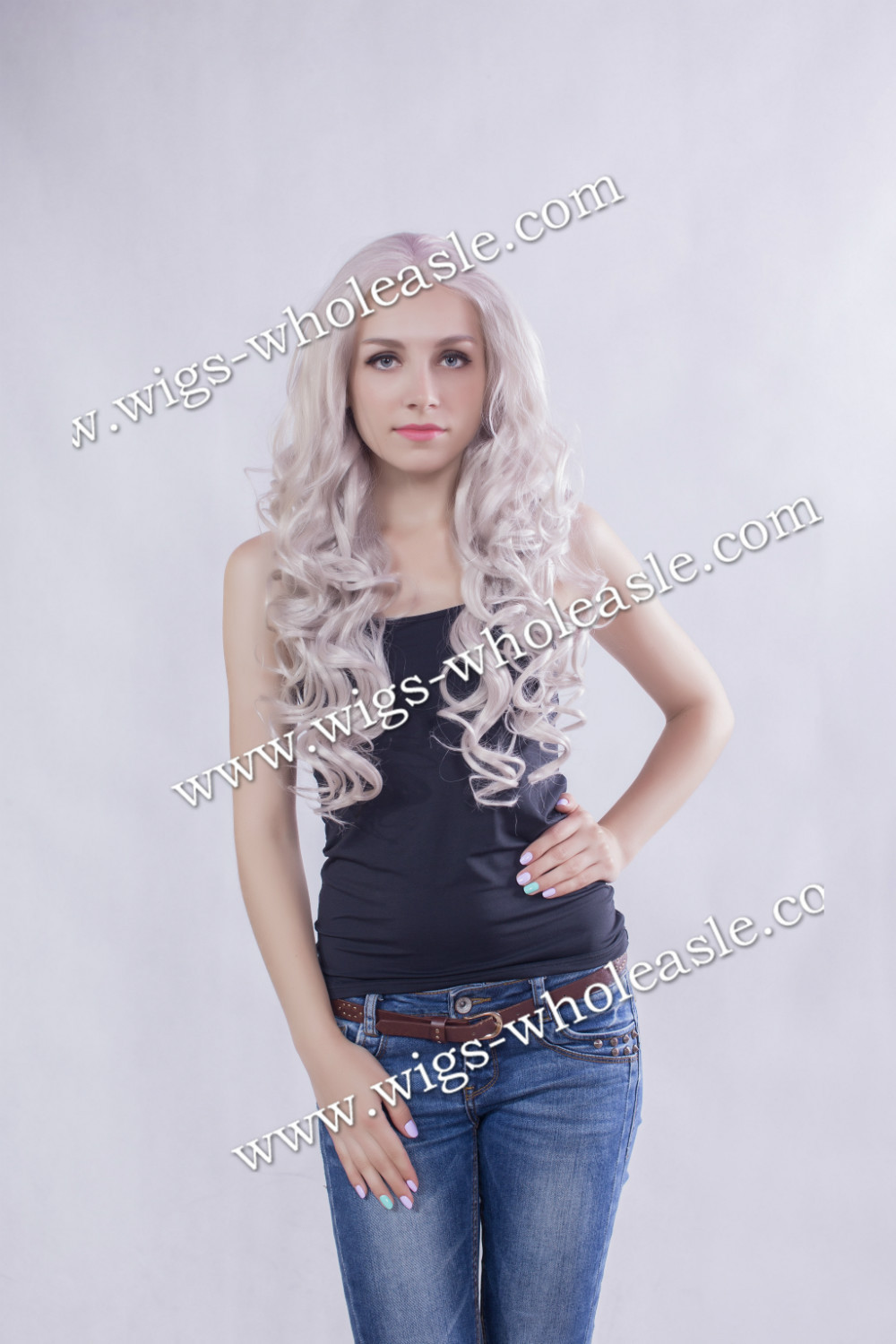 ФОТО Halloween Party Gorgeous Long Wavy Gray Color Synthetic Lace Front Wig Drag Queens Wig