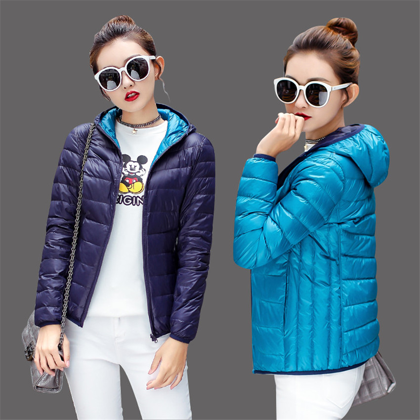 2018 New Winter Women Light Thin White Duck Down Jacket Autumn Big Size Lady Short Down Coat On Both Side Female Hooded Coat 402