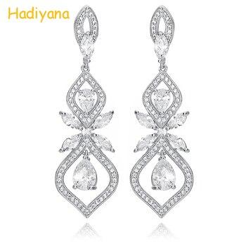 fcac49115612 Hadiyana nuevos pendientes de mujer con forma Irregular de circonita cúbica  súper brillante pendientes de boda accesorios de novia cena EH627