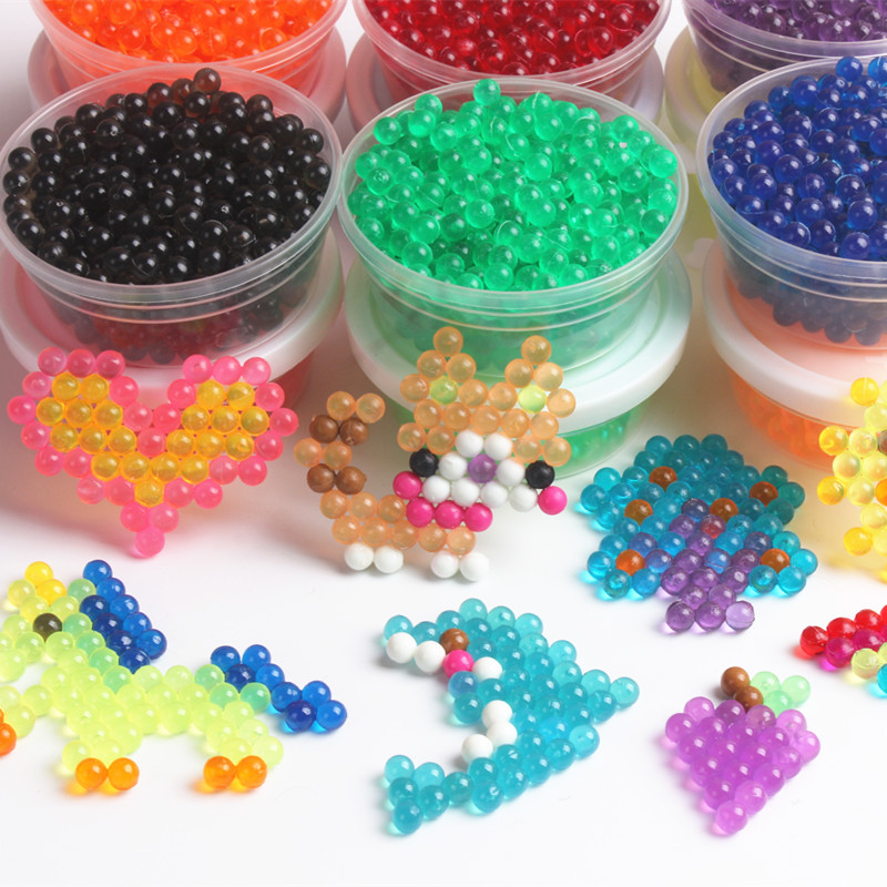 200PCS/Bag 12 Colors Crystal Transparent Beads 3D Puzzle Toys  Water Stiky Beads Toys For Children Juegos Didacticos Infantiles