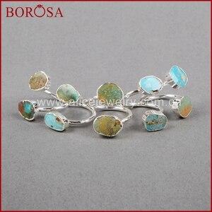 Image 4 - BOROSA 5/10 adet Vintage % 100% doğal mavi taş yüzük, gümüş renk doğal Turquoises yüzük ayarlanabilir yüzük Druzy takı S0183