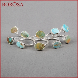 Image 4 - BOROSA 5/10PCS Vintage 100% טבעי כחול אבן טבעת, כסף צבע טבעי טורקיז טבעות מתכוונן טבעות Druzy תכשיטי S0183
