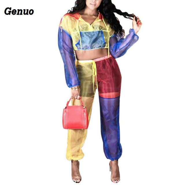 217ca1ad95 Genuo Patchwork Sheer Mesh Women Tracksuit Colorblock Zipper Long Sleeve  Hooded Jacket Crop Top Pants Two Piece Set Club Outfit