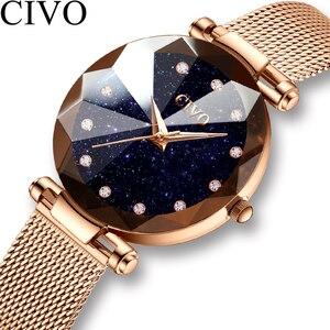Image 1 - CIVO Fashion Luxury Ladies Crystal Watch Waterproof Rose Gold Steel Mesh Quartz Women Watches Top Brand Clock Relogio Feminino