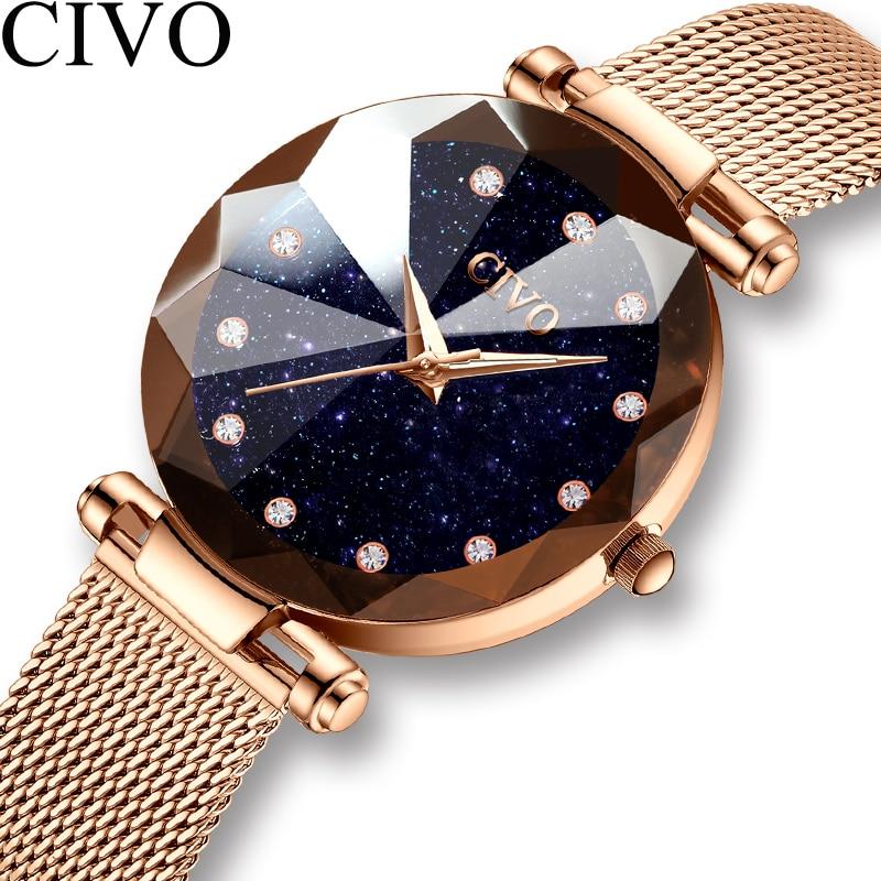 CIVO de moda de damas de lujo de cristal reloj impermeable de oro rosa de acero de malla de cuarzo mujeres relojes marca reloj Relogio femenino