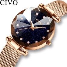 Civo moda de luxo senhoras relógio de cristal à prova drose água rosa ouro malha aço quartzo feminino relógios marca superior relógio relogio feminino