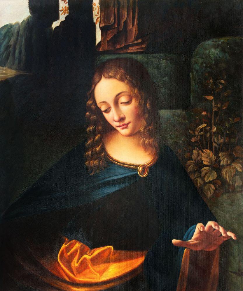 Мастер арт, картина маслом на холсте, голова Богородицы скал леonardo da Vinci, настенная живопись, домашний декор, Расписанная вручную