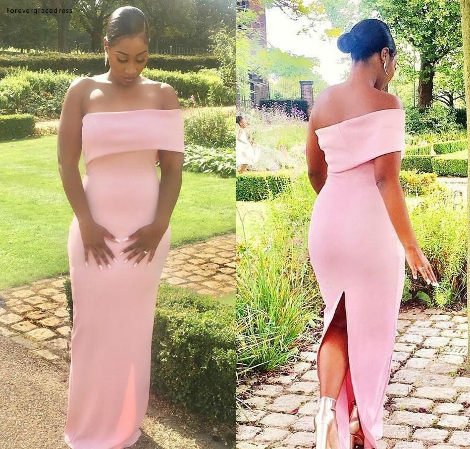 Pink   Bridesmaid     Dresses   2019 South African Summer Country Garden Formal Wedding Party Guest Maid of Honor Gowns Plus Size