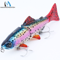 Maxcatch 1Pcs Life Like 3 Jointed Section Swimbait Fishing Lures Hard Fishing Lures With VMC Hooks