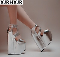 2019 summer new ultra high heel fish mouth sandals wedge with thick bottom Roman women's sandals 17 cm sexy simple high heels