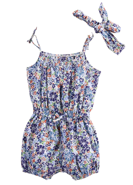 0aff90ec30c9 0-18M Infant Baby Girl Floral Sleeveless Romper Spaghetti straps Jumpsuit + Headband 2Pcs Newborn Jumpsuits   Rompers Baby Set
