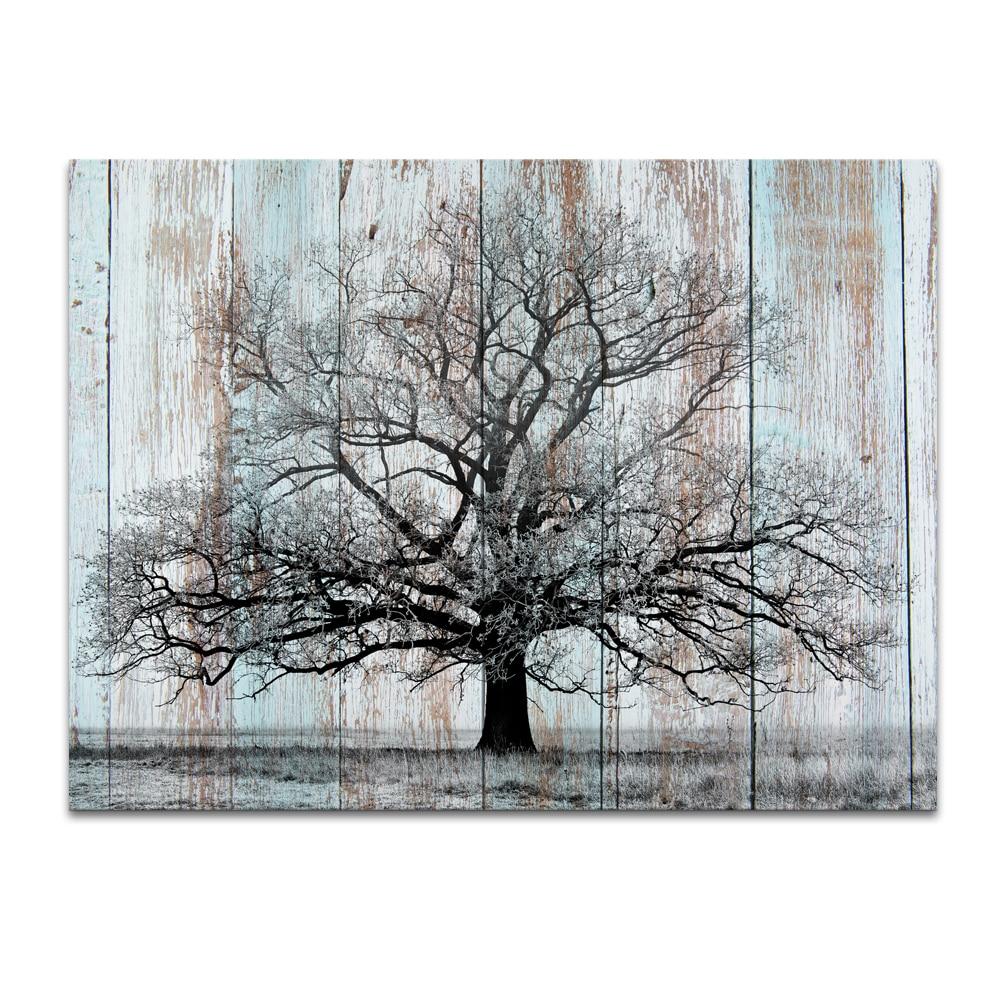 1 panneau hd imprim noir arbre sur planche de bois toile. Black Bedroom Furniture Sets. Home Design Ideas