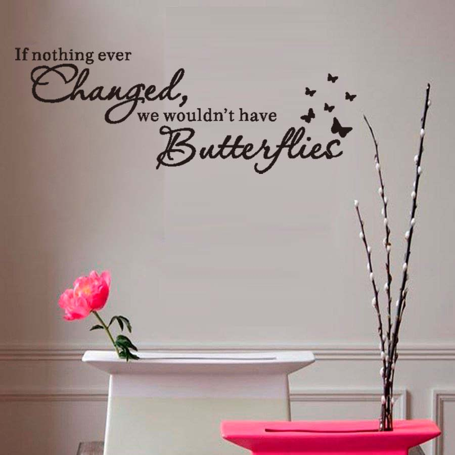 If Nothing Ever Changed motivational Quote Wall Sticker Art Vinyl Lettering Butterflies Wall Decal For Kids Room Home Decoration image