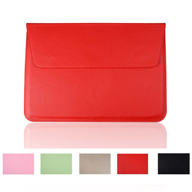 2dff06e17a9 Luxe litchi oppervlak pu lederen mouw bag apple macbook air 11 13 laptop  sleeve pouch gevallen