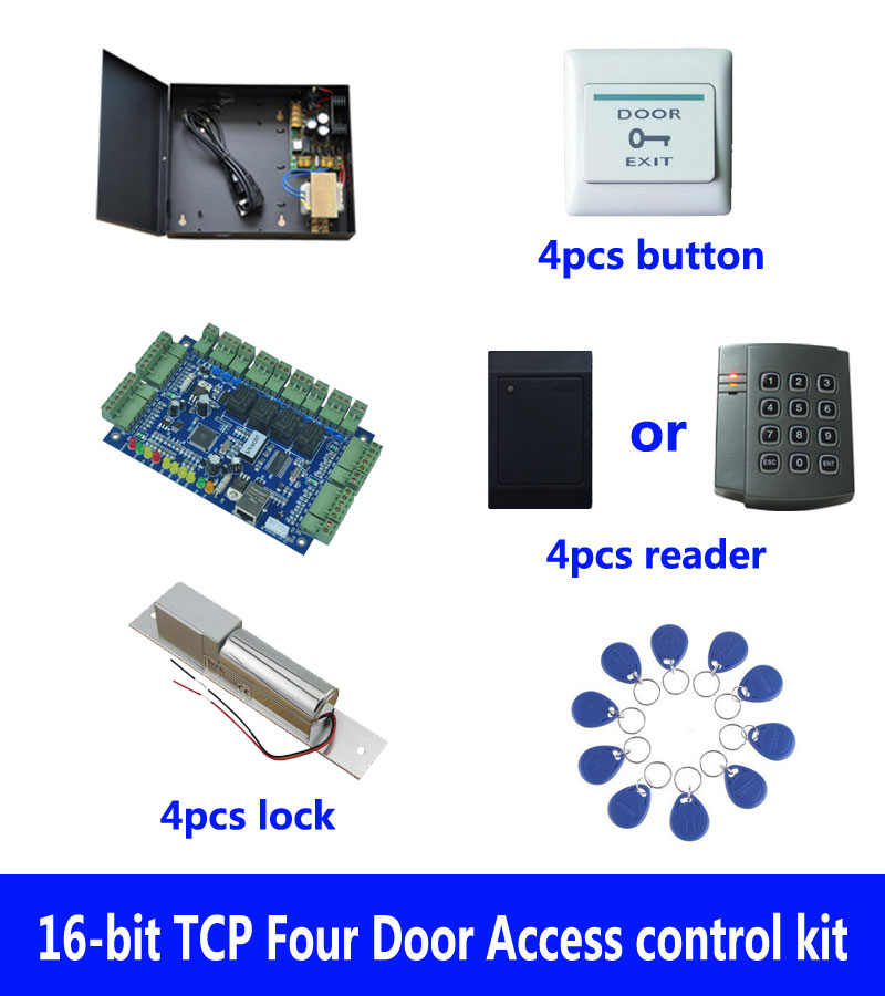 RFID card access control kit,TCP/IP four door access control+powercase+bolt lock+ID reader+exit button+10 ID tag,sn:kit-B402 biometric face and fingerprint access controller tcp ip zk multibio700 facial time attendance and door security control system