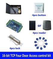 Rfid карты комплект контроля доступа, tcp/ip четыре двери контроля доступа + PowerCase + домофоны + ID читателя + кнопка выхода + 10 ID тегов, sn: kit b402