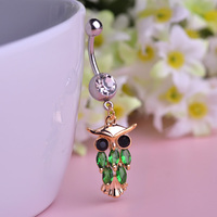 Blucome Owl Crystal Dangle Belly Button Rings CZ Rhinestone Animal Helix Piercing Nombril Sexy Body Stainless