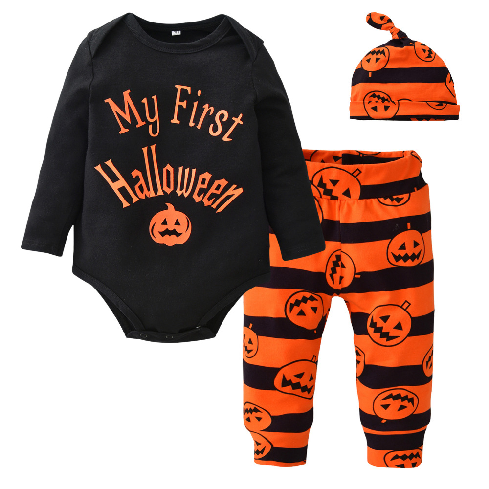 3Pcs Cute Infant Baby Girl Boy Halloween Clothes Pumpkin Romper with Hat and Long Pants Outfits Set