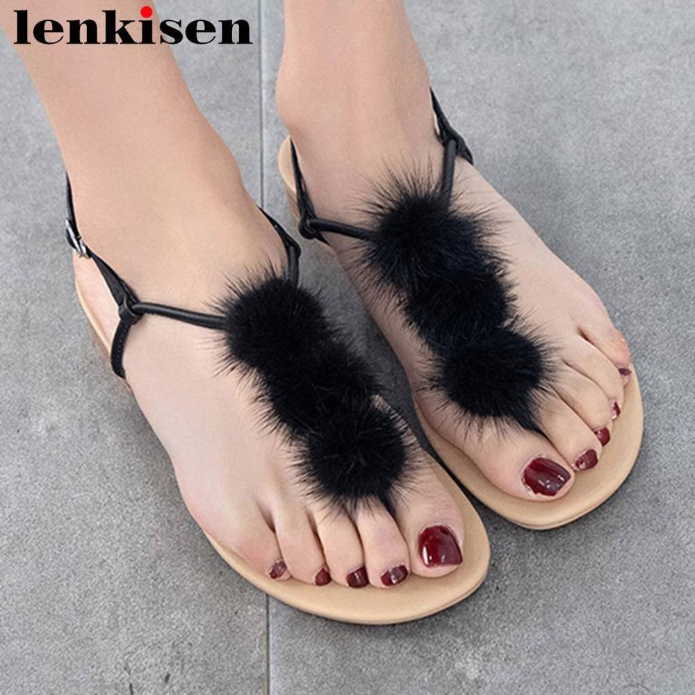 Lenkisen 2019 année plus récent en cuir véritable talons bas peep toe femmes sandales jolies filles boucle sangle été loisirs chaussures L74