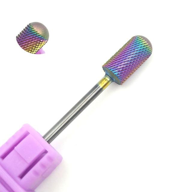 "HYTOOS Blue & Rainbow Nail Drill Bit 3/32"" Tungsten Carbide Burrs Manicure Bits Drill Accessories Milling Cutter Nail Art Tools 4"