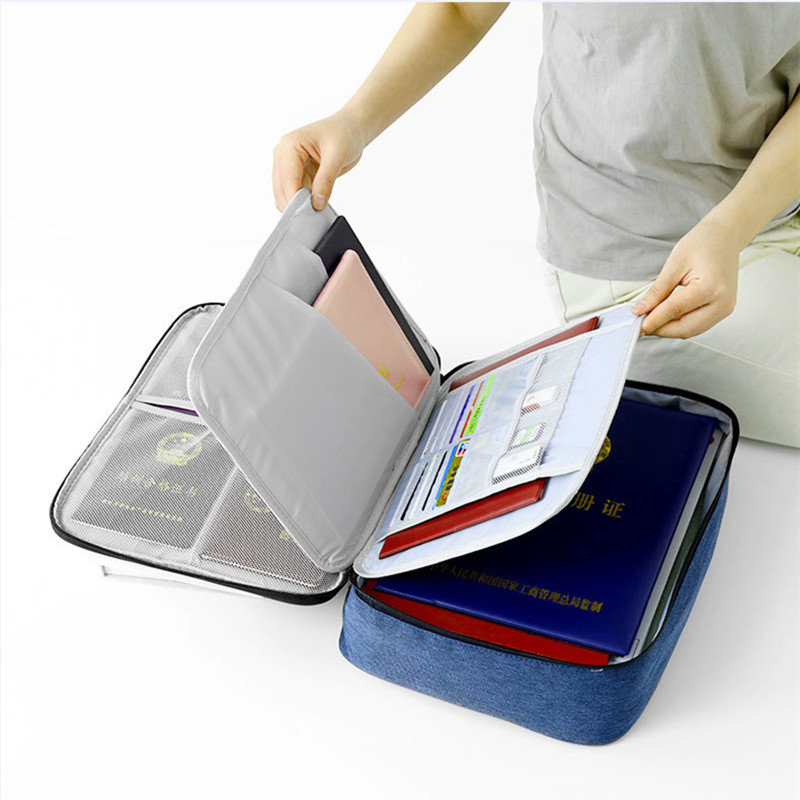 Women Men Travel Document Bag Waterproof Large Capacity Passport Wallet Notebook Storage Multi-layer Mesh Pouch Accessories