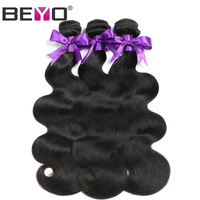 Beyo Peruvian Body Wave Hair Weave 100 Human Hair Bundles 10 26 Inch Natural Black Color