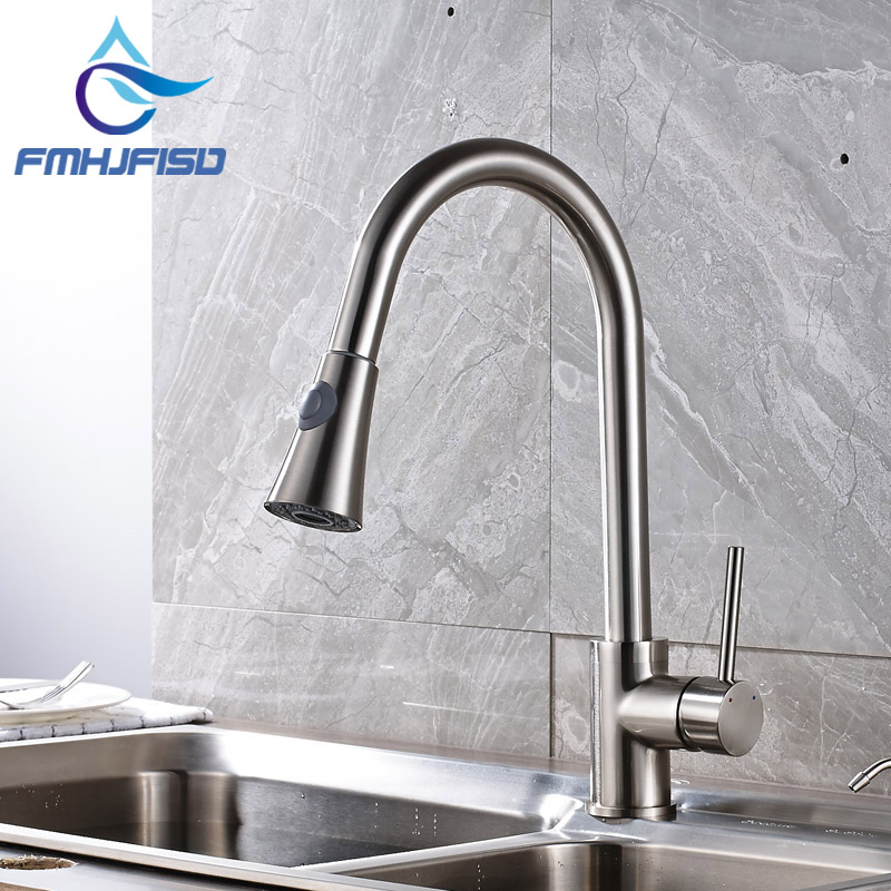 Factory Retail Brushed Nickel Single Handle Kitchen Mixer Faucet with Pull Out Sprayer