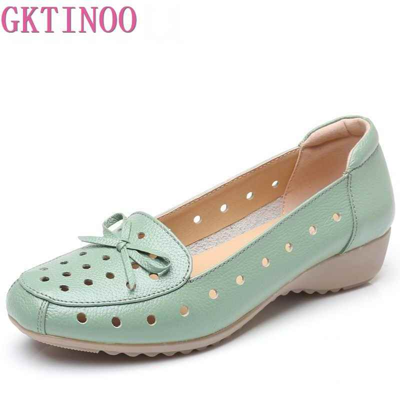 GKTINOO Breathable Genuine Leather Summer Shoes Woman 2019 Flat Low Heel Bowknot Hollow Out Leather Slip On Shoes For Women Soft