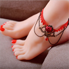 Wedding Vintage gold chain ankle bracelet Foot fashion red Lace Handmade Gothic anklets women foot fine jewelry XSA-LS7057