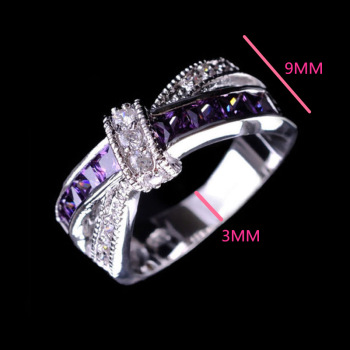 Beautiful pretty fashion Wedding Party White gold color silver color NICE women Purple crystal Lady Ring jewelry LR050 1