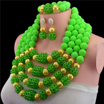 2017-Luxury African beads jewelry set green crystal beads bride jewelry nigerian wedding african beads jewelry Set KL-1043