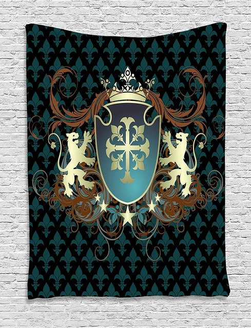 medieval tapestry heraldic design of a middle ages coat of arms