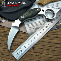 LCM66 D2 Steel Karambit Scorpion Claw Knife Outdoor Camping Jungle Survival Battle Fixed Blade Hunting Knives