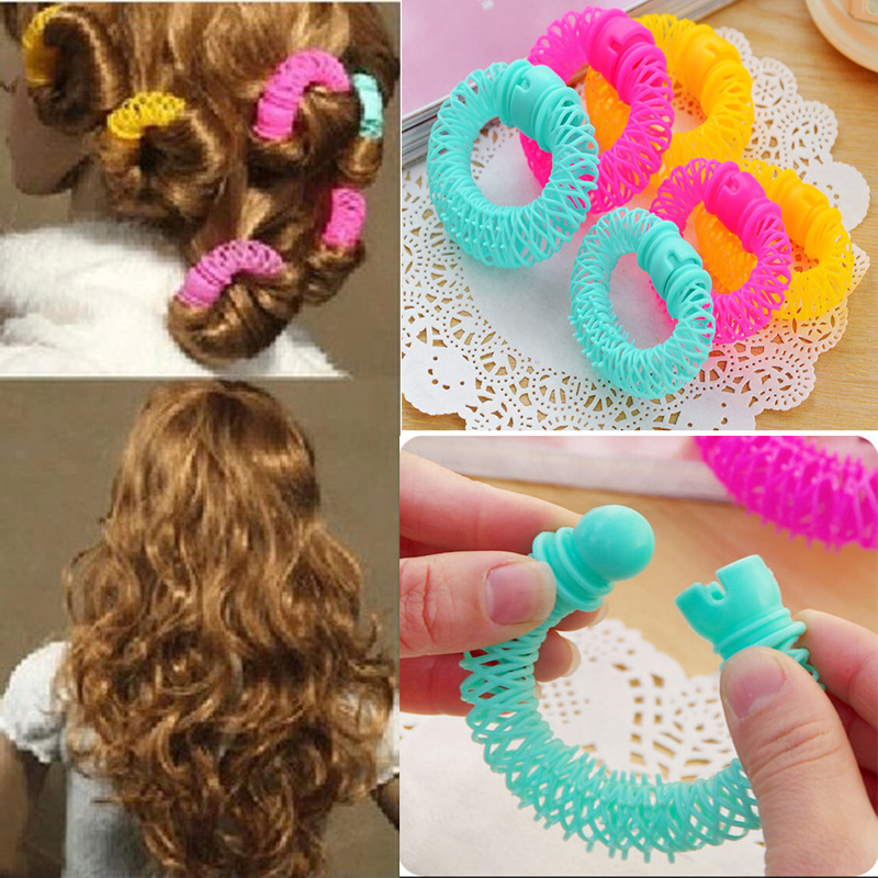 8/16pcs Magic Girls Curler Hair Curlers Elastic Ring Bendy Curler Spiral Curls DIY Tool Hair Accessories For Women Ladies Female