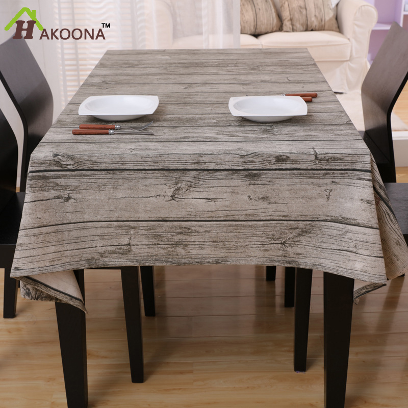 HAKOONA Image Wood Grain Style Tablecloths Cotton Linen Square Oblong Table  Cloth Tea Table Cloth 140